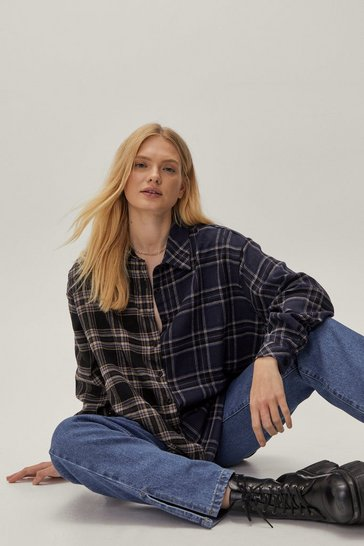 Navy Grid Won't Be Long Plus Oversized Check Shirt