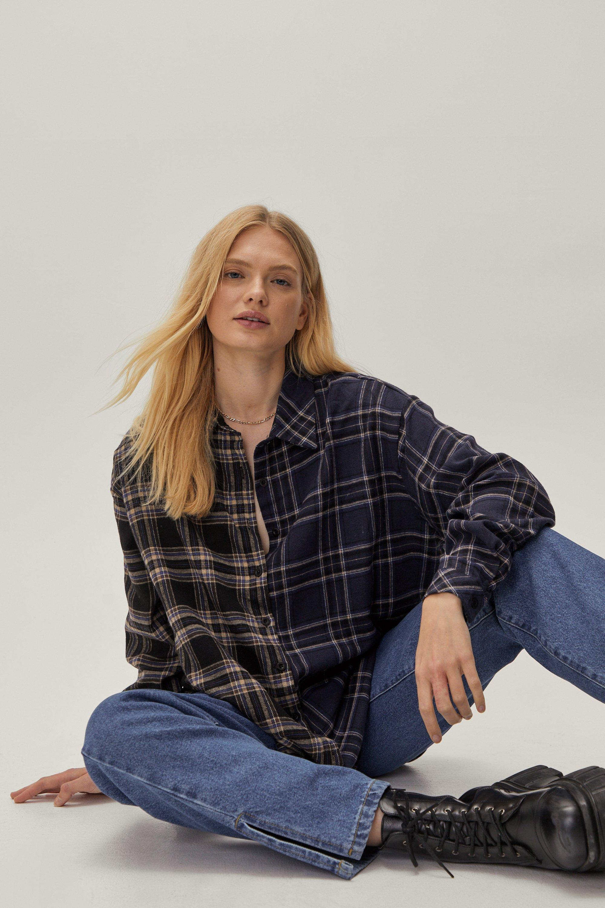 Grid Won't Be Long Plus Oversized Check Shirt 12