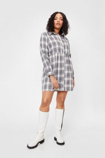 Grey Plus Size Smock Check Mini Dress