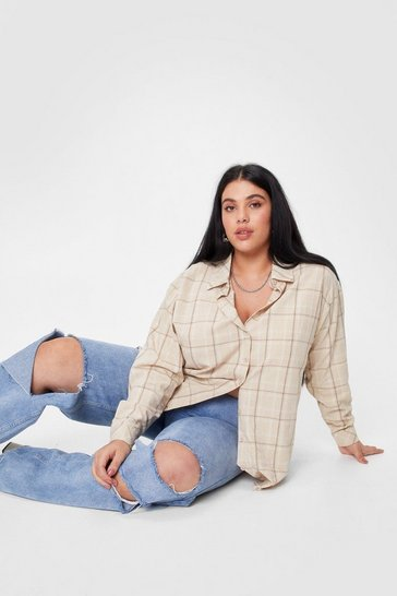 Brown Plus Size Check Button Relaxed Shirt