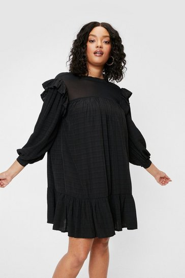 Black Plus Size Frill Sleeve Smock Mini Dress
