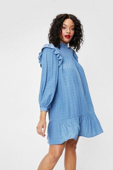 Blue Plus Size Frill Sleeve Smock Mini Dress