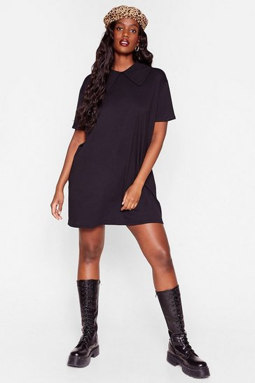 Black Plus Size Collar T-Shirt Dress