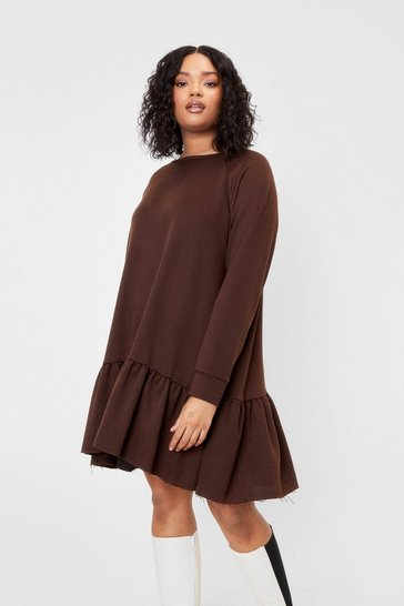 Chocolate Plus Size Drop Waist Smock Dress