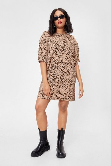 Brown What Wild It Be Plus Animal Tee Dress
