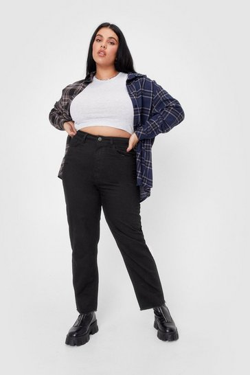 Black Fray It Louder Plus Raw Hem High-Waisted Jeans