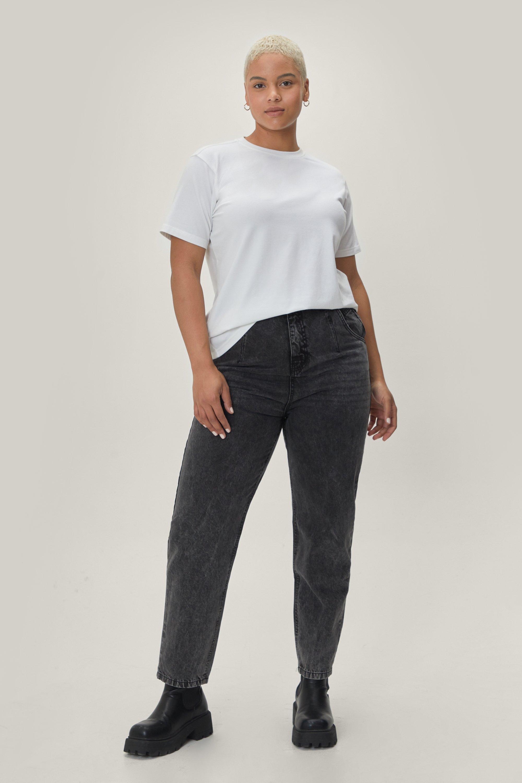 Plus Size Acid Wash High Waisted Denim Jeans 7