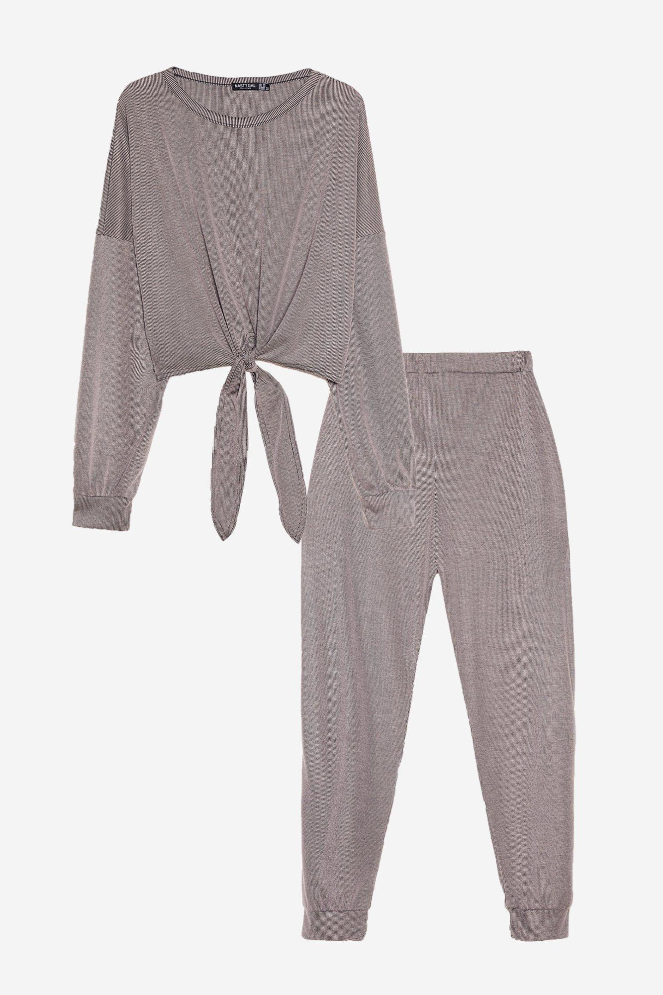 Tie Miss You Baby Plus Ribbed Top and Jogger Set 14