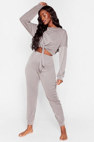 Grey Tie Miss You Baby Plus Ribbed Crop Top and Jogger Set