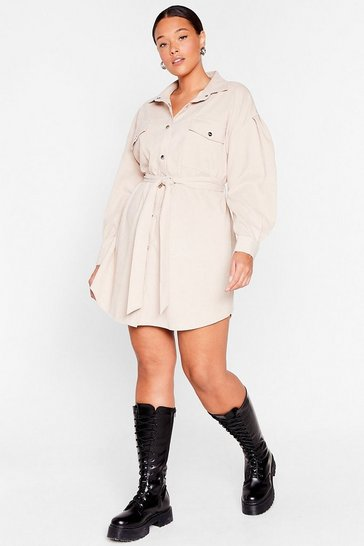 Stone Get On Cord-uroy Plus Belted Shirt Dress