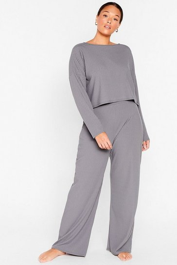 Grey Keep Your Cool Plus Top and Trousers Lounge Set