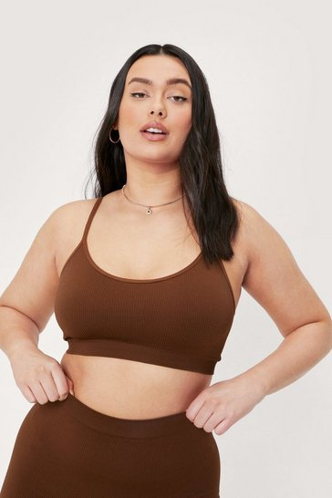 Chestnut Plus Size Scoop Neck Ribbed Bralette