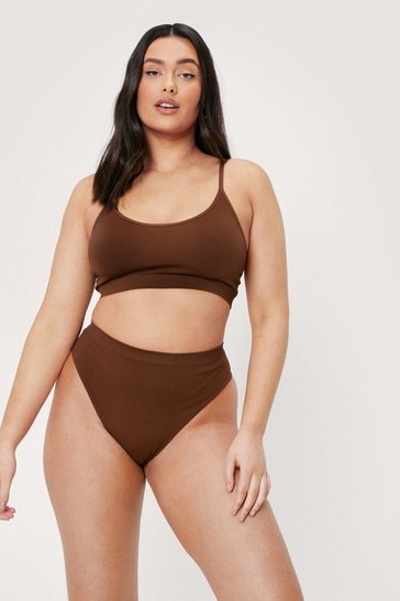 Chestnut Plus Size High Leg Ribbed Thong