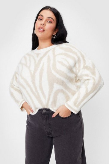 Cream Plus Size Knitted Zebra Crew Neck Sweater