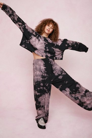 Black Plus Size Tie Dye Wide Leg Pants Lounge Set