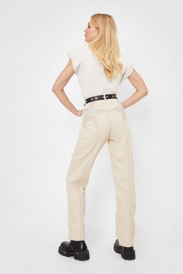 Sand Star-t Over High-Waisted Straight-Leg Jeans