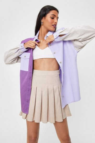 Lilac Bright On Time Oversized Colorblock Denim Shirt