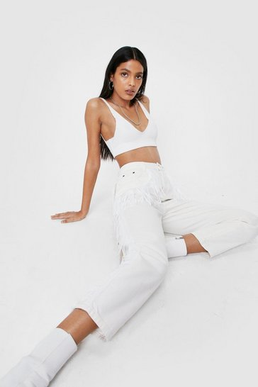 Ecru High Waisted Fringe Mom Jeans