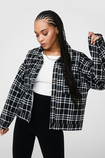 Black We Grid It Again Check Shirt Jacket