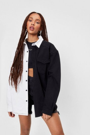 Black Two Tone Oversized Denim Shirt