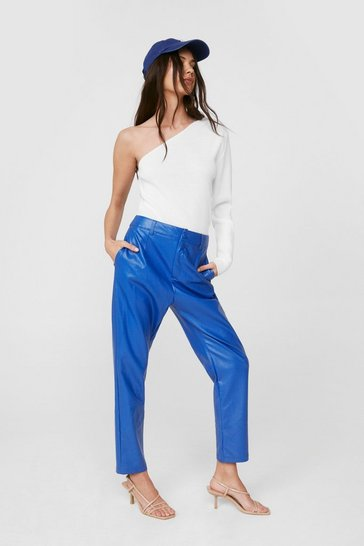 Blue High Tide Faux Leather Tapered Pants