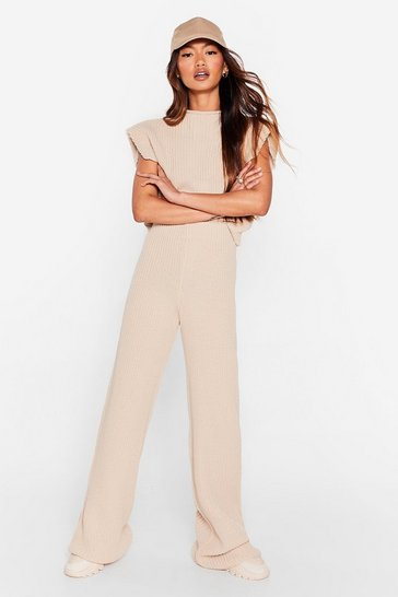 Oatmeal Not a Shoulder Pad Idea Wide-Leg Pants Lounge Set