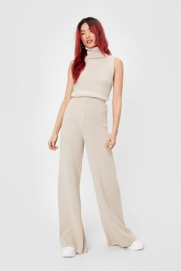 Light stone Tank You Next Knitted Wide-Leg Lounge Set