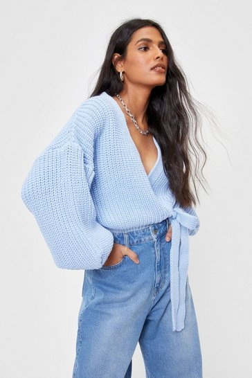 Baby blue Take Knit Slow Chunky Wrap Cardigan