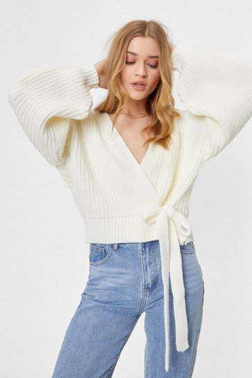 Ivory Take Knit Slow Chunky Wrap Cardigan