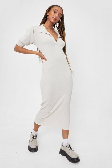 Off white Knitted Collar Puff Sleeve Midi Dress