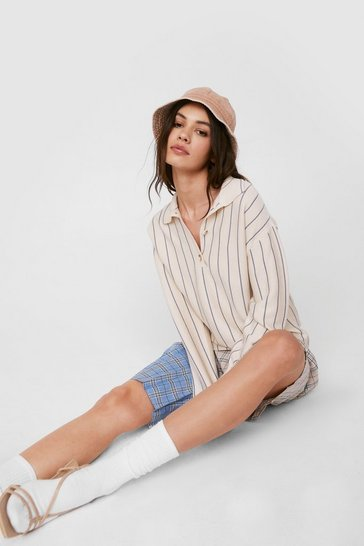Light stone Relaxed Striped Collar Sweatshirt