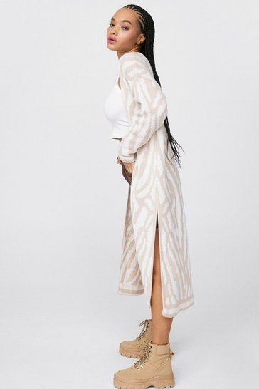 Natural Let's Slit Up Zebra Longline Cardigan