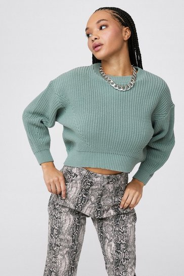 Sage Let Knit Go Cropped Crew Neck Sweater
