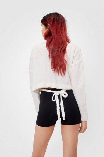 Cream Ride Knit Out Cropped Tie Sweater