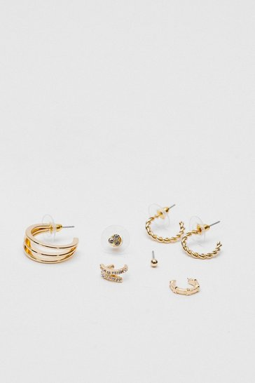 Gold Stud and Hoop Earring 5 Pc Set