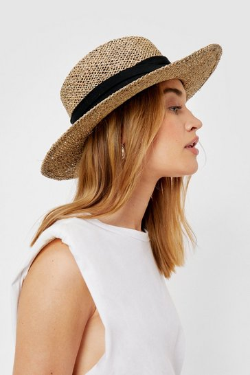 Natural Straw Structured Wide Brim Hat