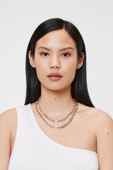 Silver Layered Two Tone Curb Chain Necklace