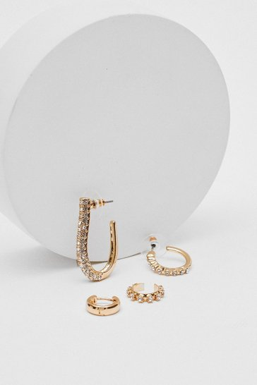 Gold Diamante 4 Pc Hoop Earring Set