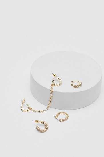 Gold Diamante 4 Pc Chain Huggie Hoop Earring Set