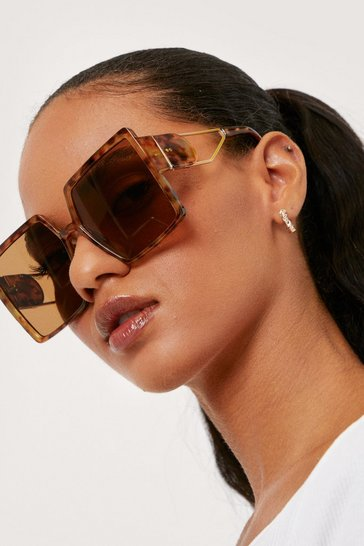 Brown Oversized Tortoiseshell Square Sunglasses