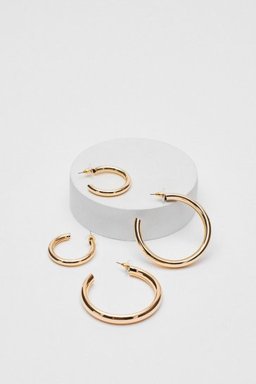 Gold Double Hoop Earring Pack