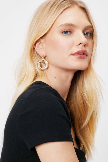 Gold Contrast Medium Drop Hoop Earrings
