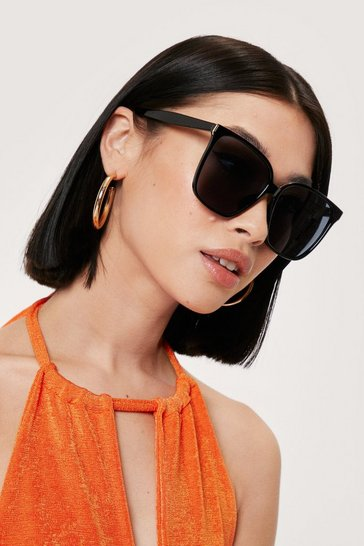 Black Oversized Cat Eye Tinted Lense Sunglasses