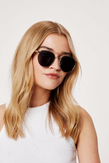 Gold Tinted Round T Bar Aviator Sunglasses