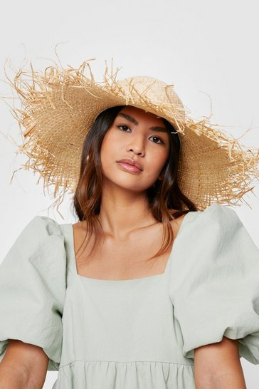 Natural Frayed Edge Oversized Straw Hat