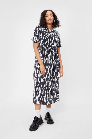 Black Be Herd Plus Zebra Midi Dress