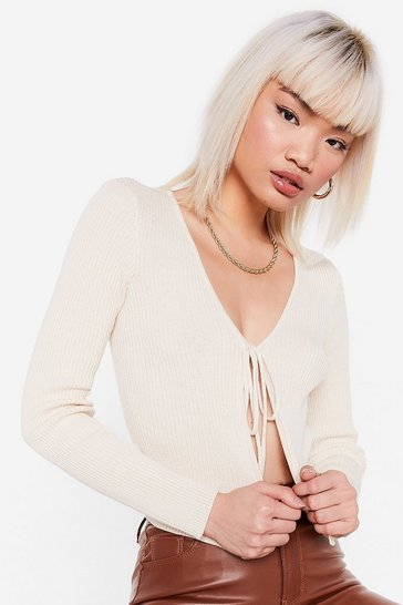 Ivory Tie It Out Ribbed Petite Crop Top