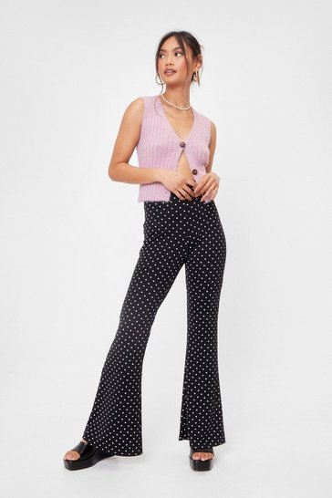 Black Petite Polka Dot High Waisted Flares