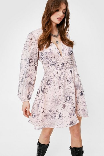 Nude Moon And Stars Chiffon Mini Tea Dress