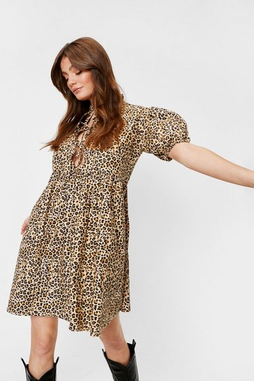 Brown Wild You're Here Leopard Mini Dress